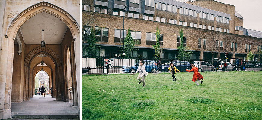 Children chasing each other, playing outside St. Luke's church in Chelsea