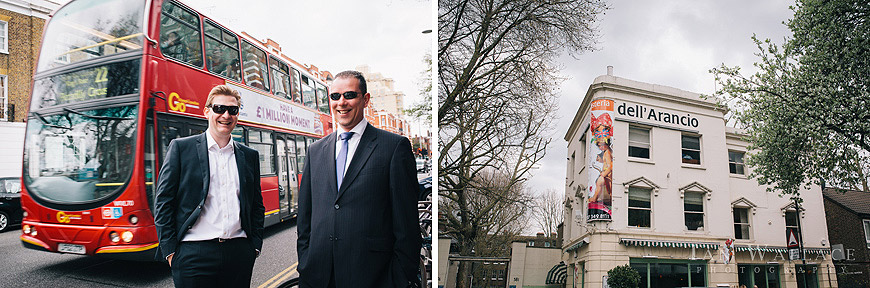 Posing next to an iconic London red bus on Kings Road