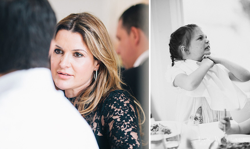 Documentary photographs of guests at a family meal in dell' Arancio, London