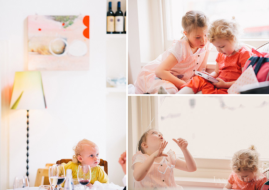 Candid photos of children and toddlers playing happily at a restaurant in London