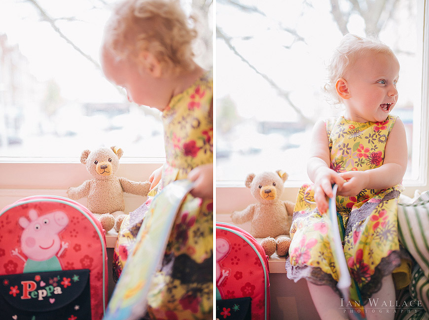 A toddler reads her bear a story at dell' Arancio in London