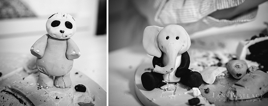Fondant icing animals, with their heads swapped over. This is how mutants are made!