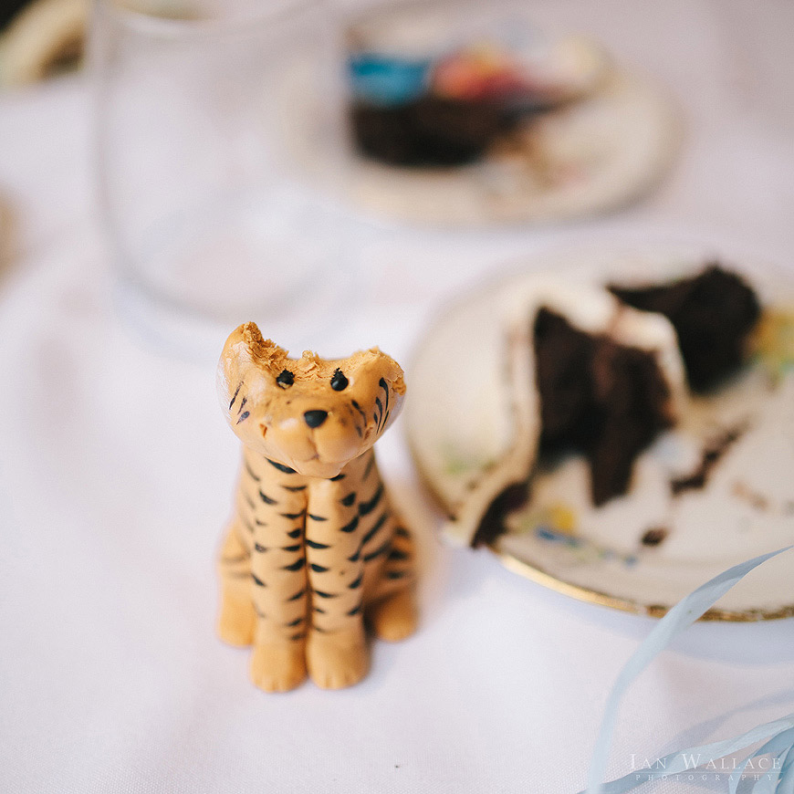 Detailed fondant icing tiger, with it's head bitten into