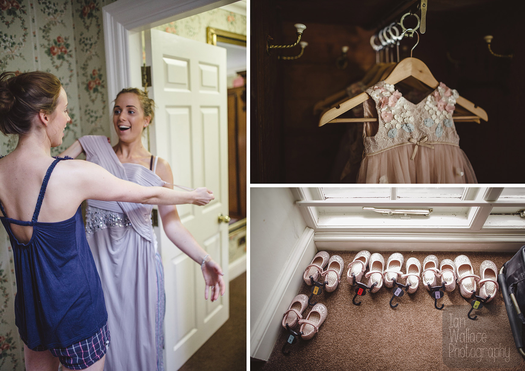 Bridesmaid, dresses and flower-girl shoes