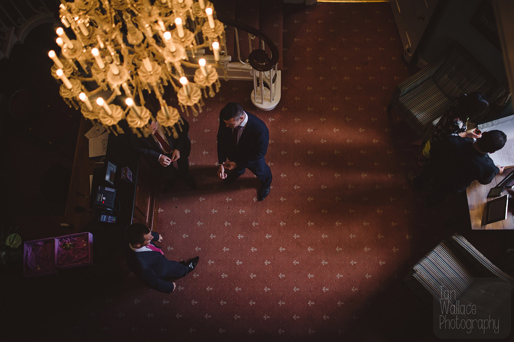Abstract shot of men waiting around before a ceremony