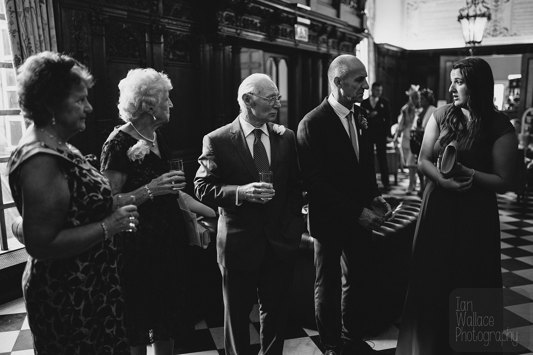 Documentary photography of guests before a wedding ceremony