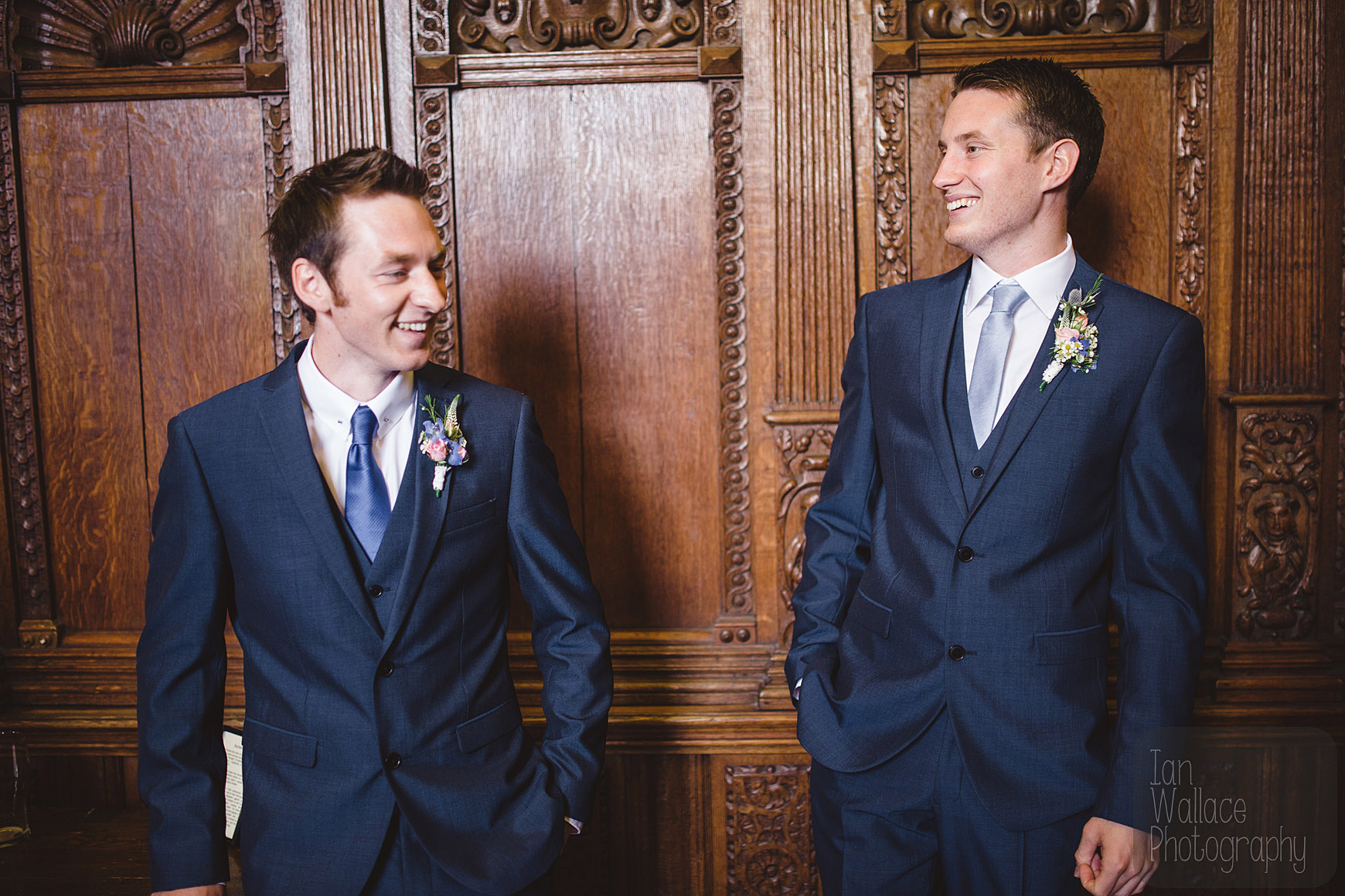 Groom and best man chatting and laughing in the lead up to the ceremony