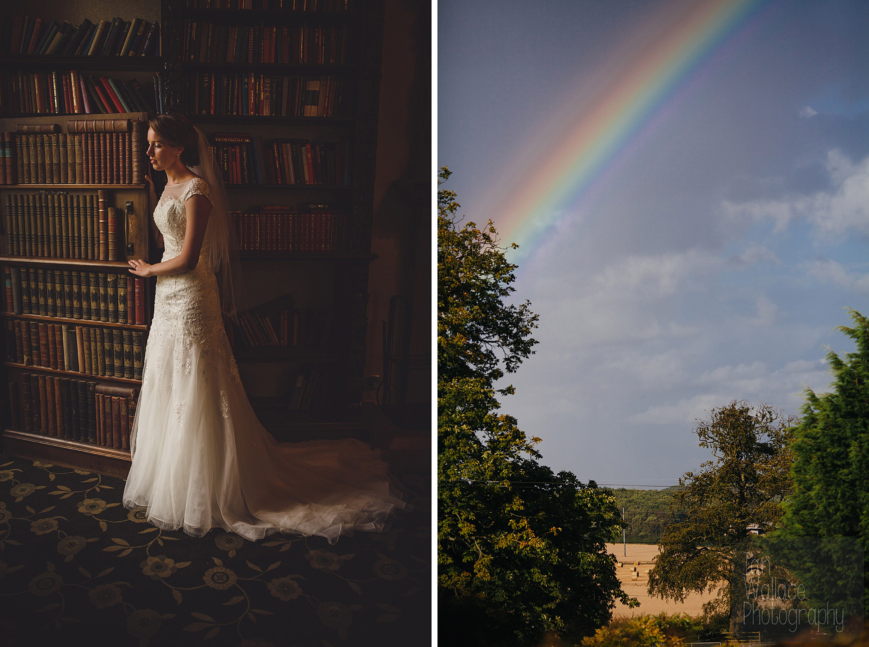 We got a rainbow! Also, the bride in a fine art photo against a secret staircase in the library