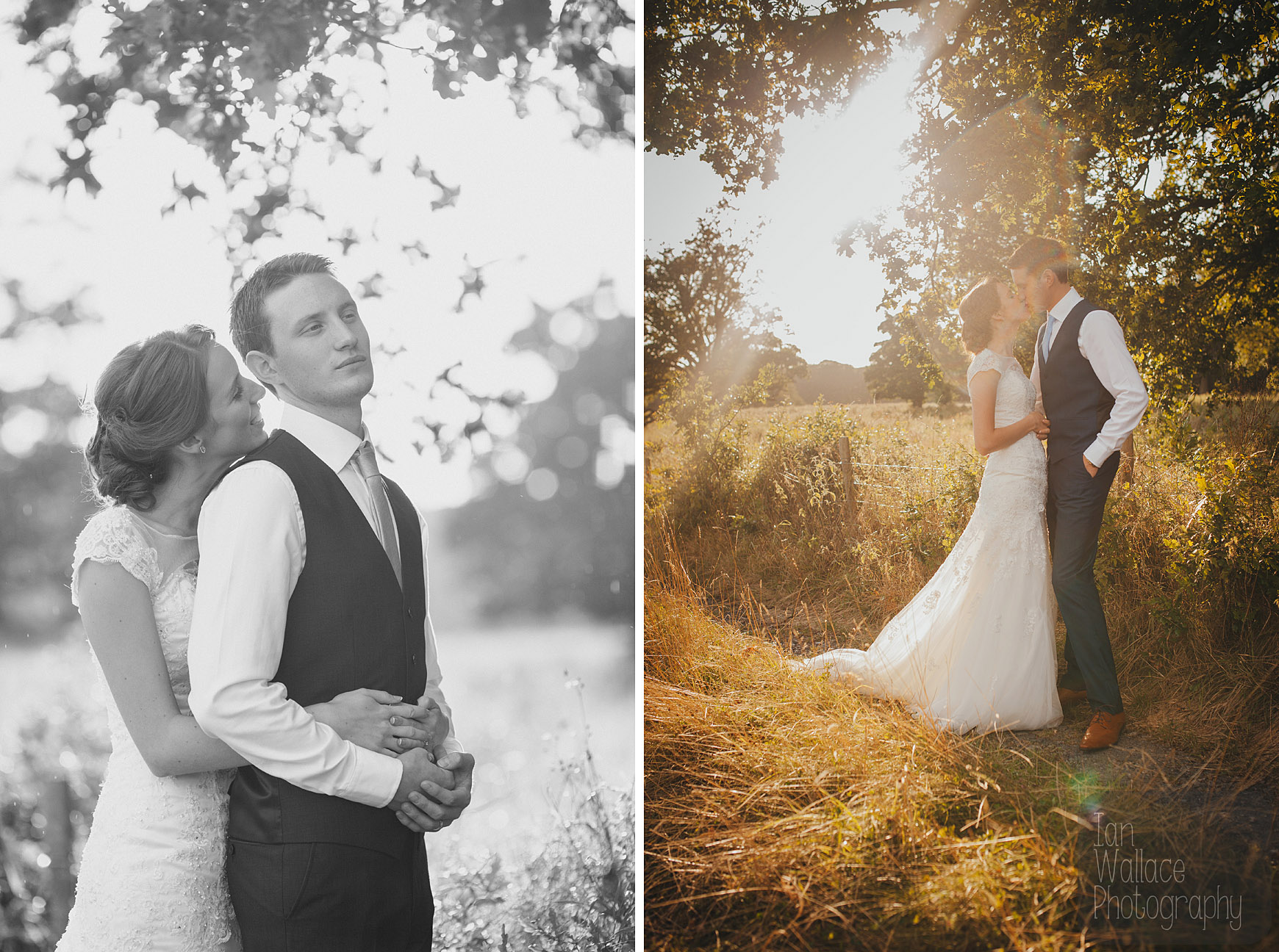 Beautiful sun drenched natural portraits of a bride and groom in Yorkshire