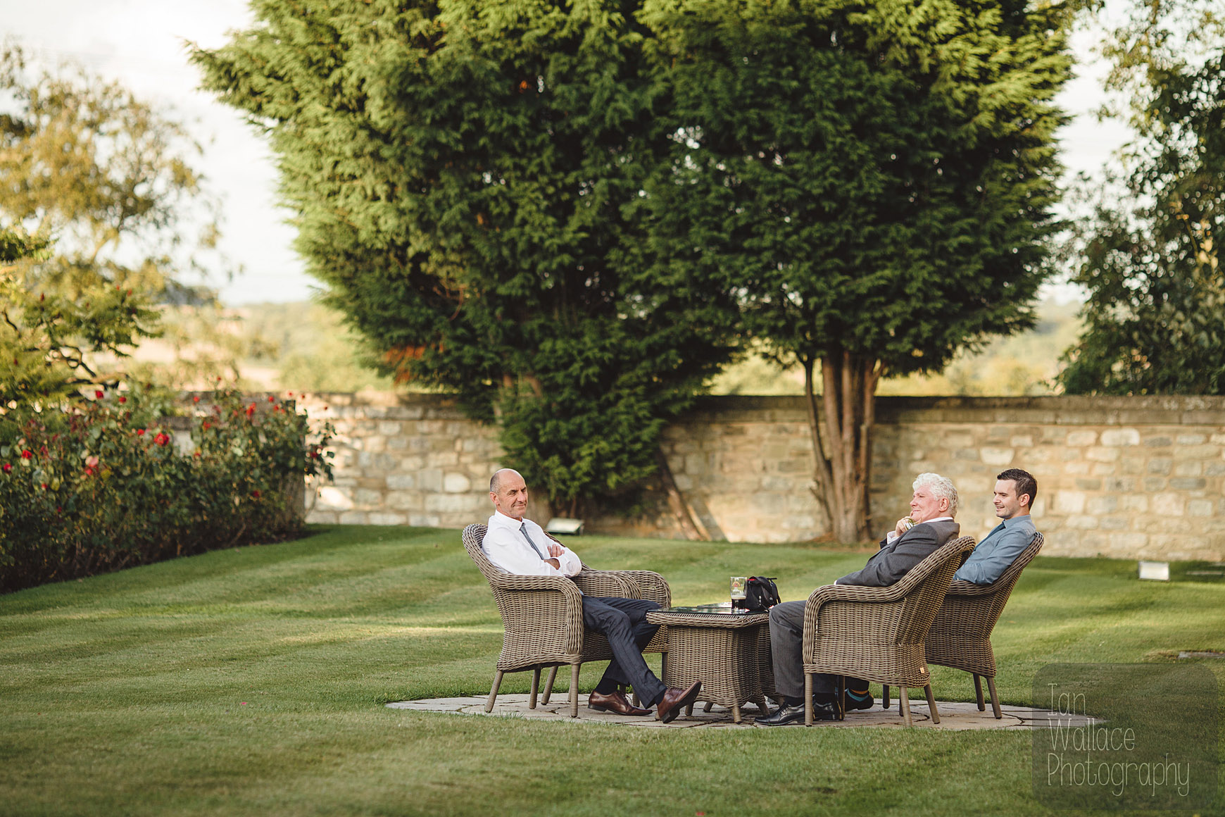Guests relaxing in the beautiful grounds of Hazlewood Castle