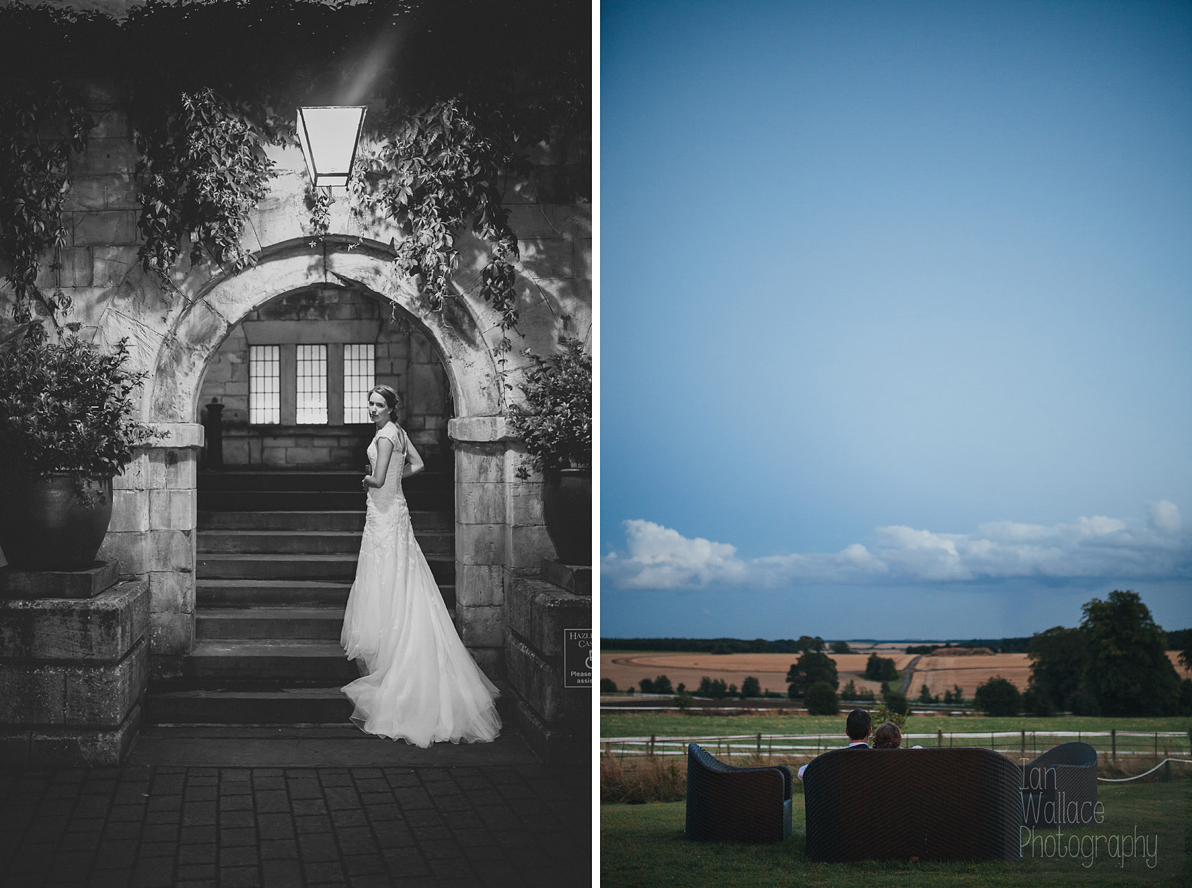 Portraits of bride and groom at dusk.