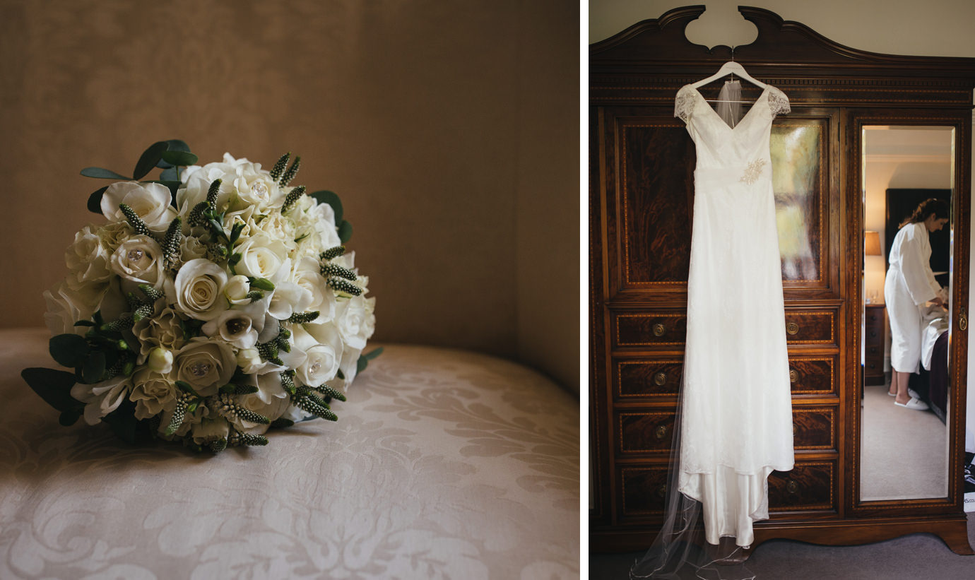 Beautiful bouquet and dress during bridal preparations
