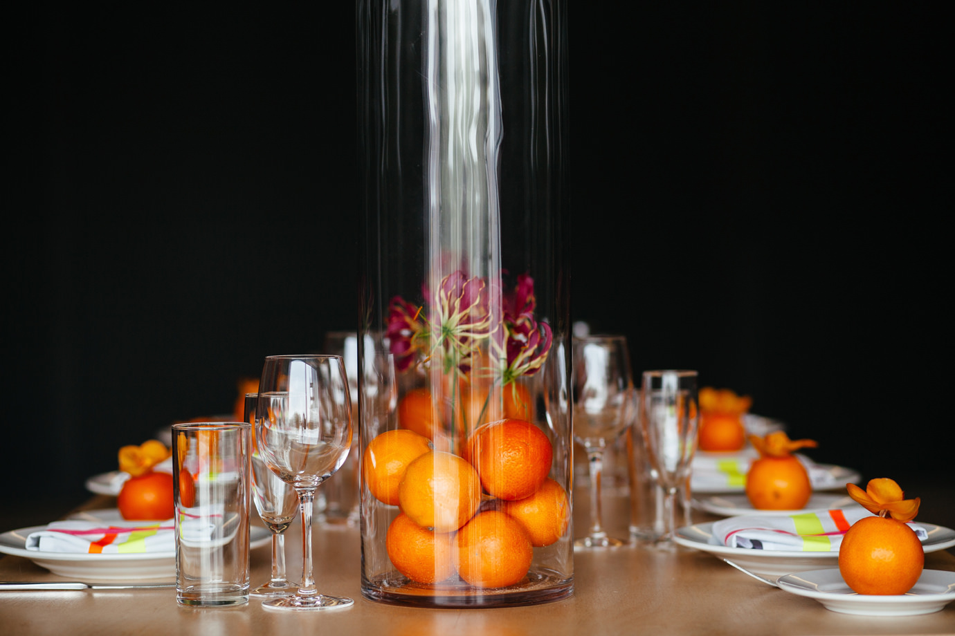 Bespoke orange table decorations at the Hepworth