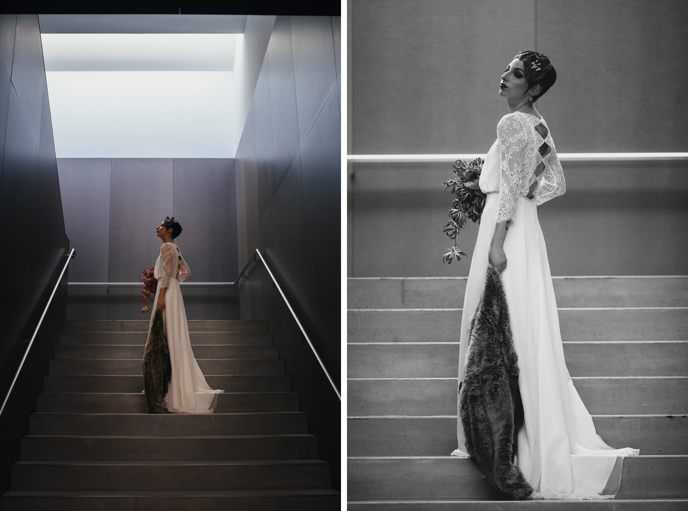 Elegant bridal portrait on staircase