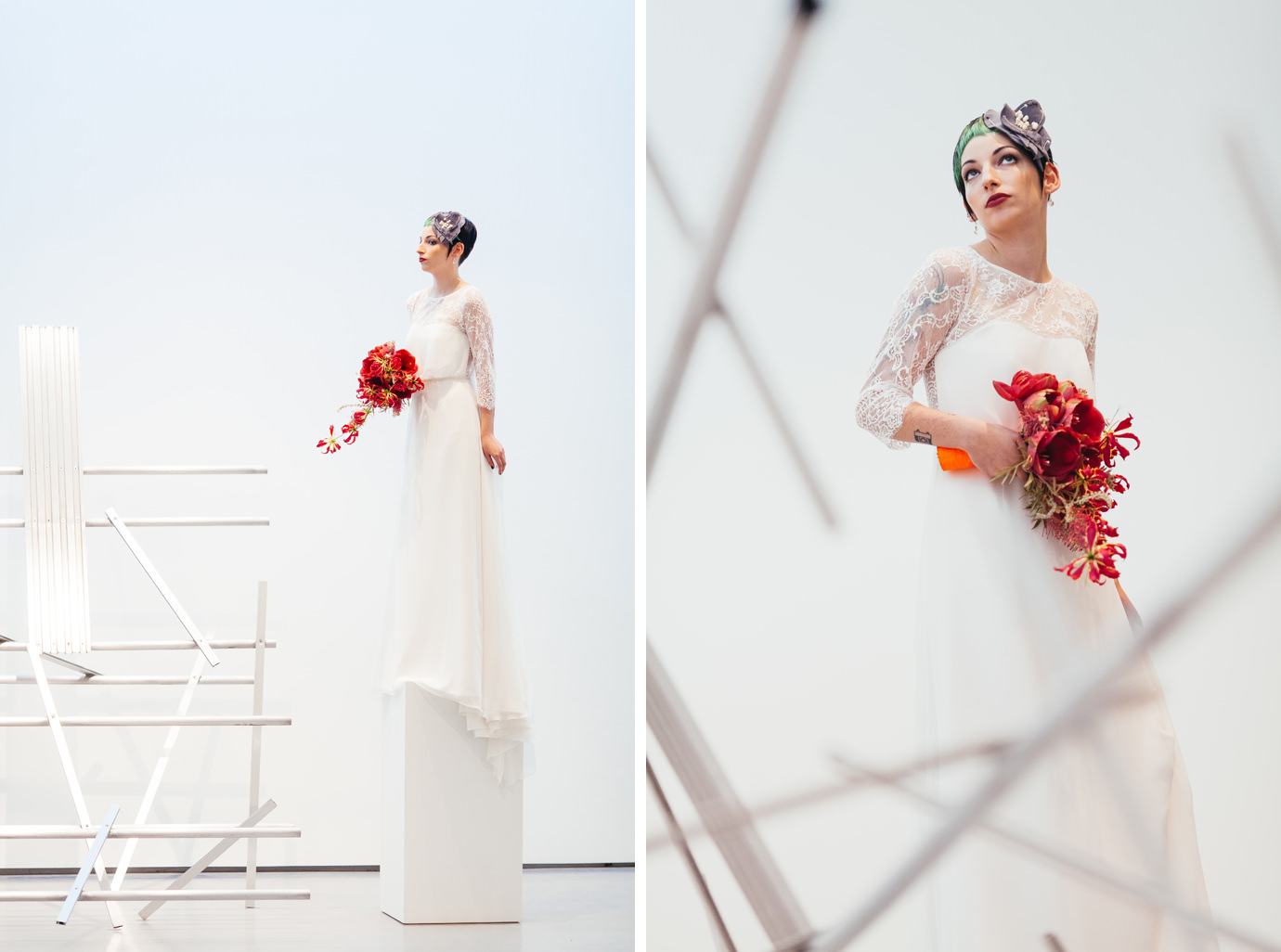 Creative wedding portraits against Hepworth artworks