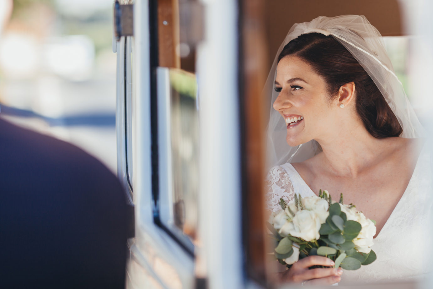 Relaxed happy bride modern wedding photography Yorkshire