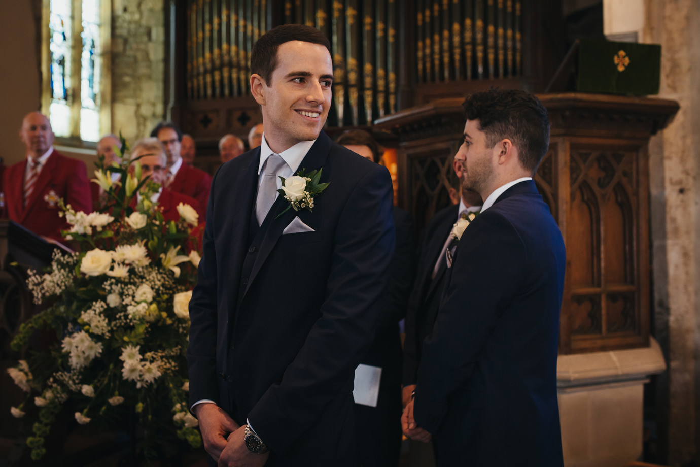 The grooms first glance Yorkshire wedding photography