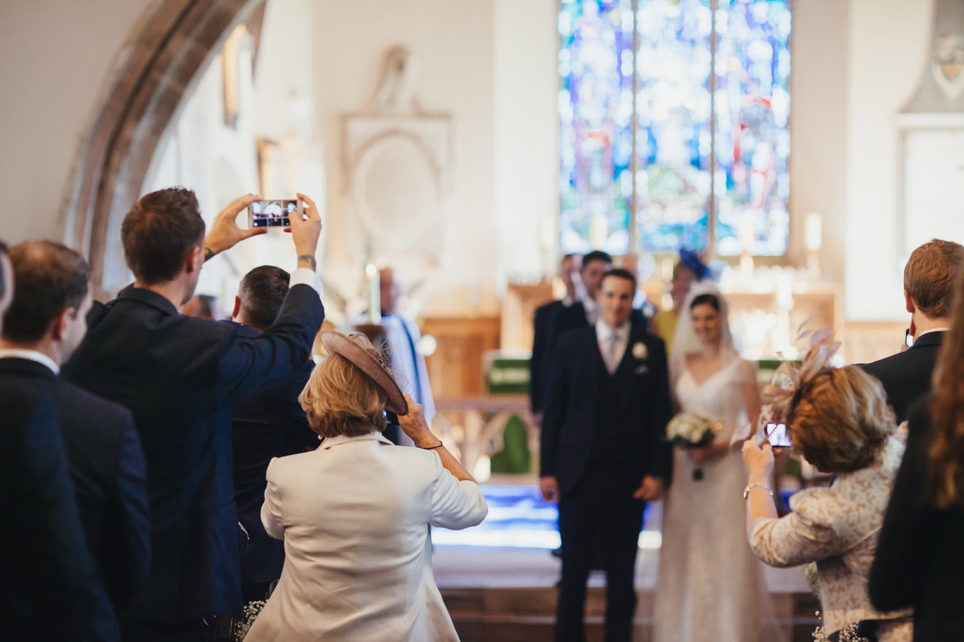 The phone scrum after the ceremony East Riding photography