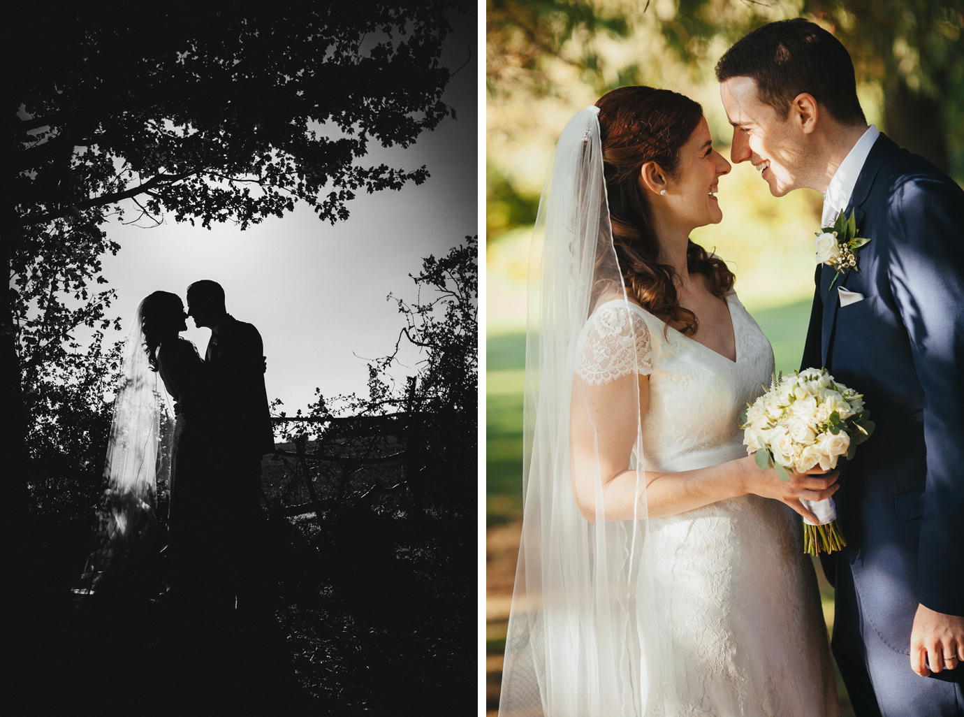 Beautiful light couples wedding portraits silhouette and relaxed