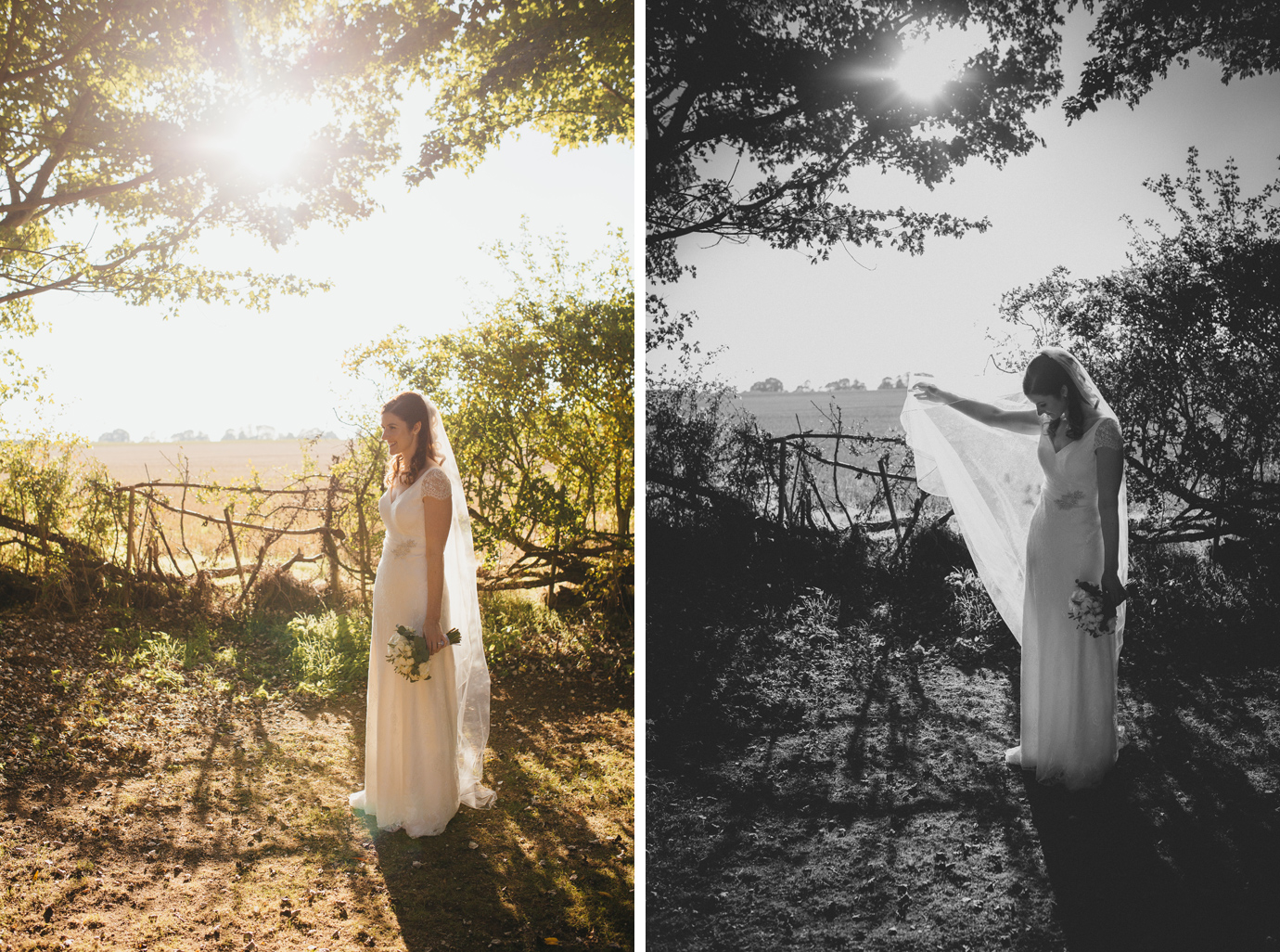 Bride playing with veil in backlit portraits