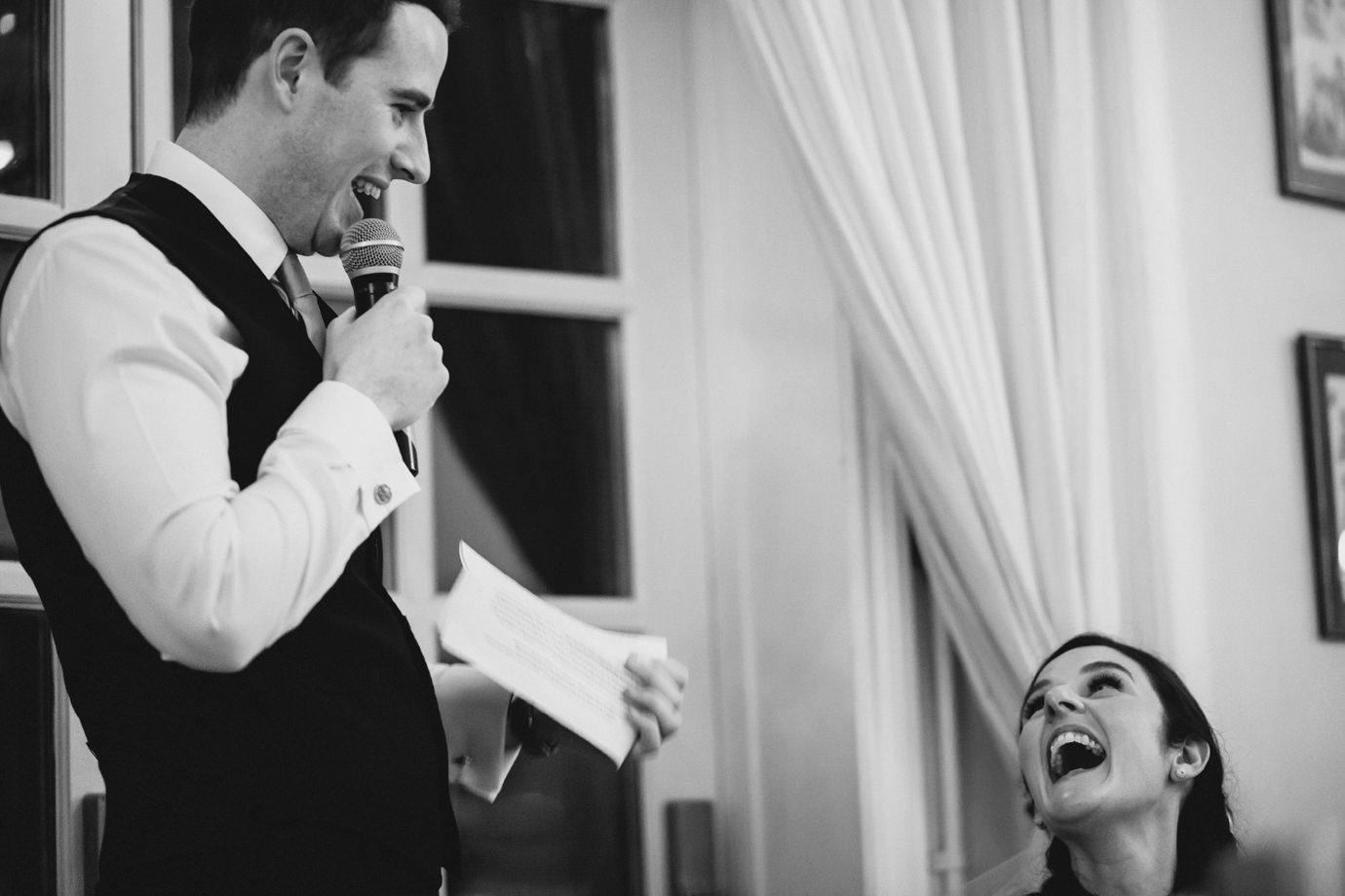 Sharing the laughter during groom speech Hemswell Court