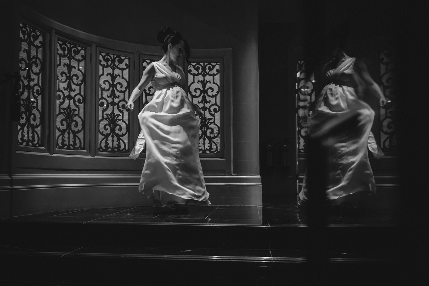 Swirling the dress - art-deco at the Savoy hotel, London wedding photography