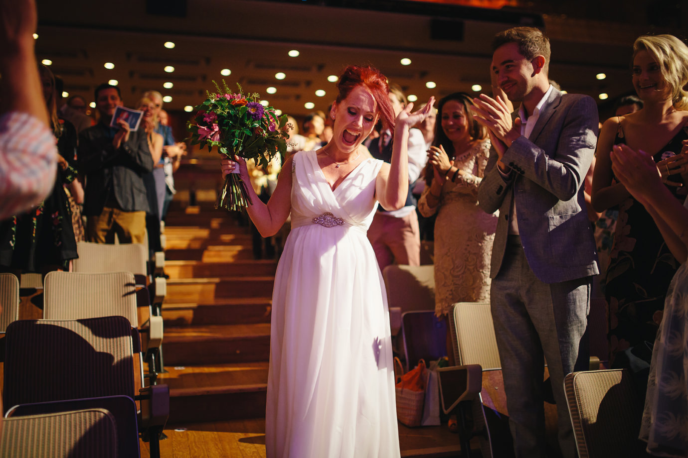 Brides entrance, documentary wedding photography, Royal Festival Hall, London