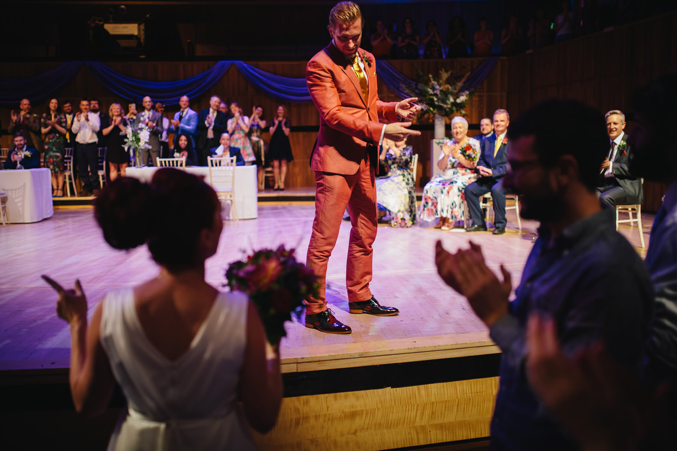 Groom meeting the bride, Royal Festival Hall, Festival of Love, wedding photography