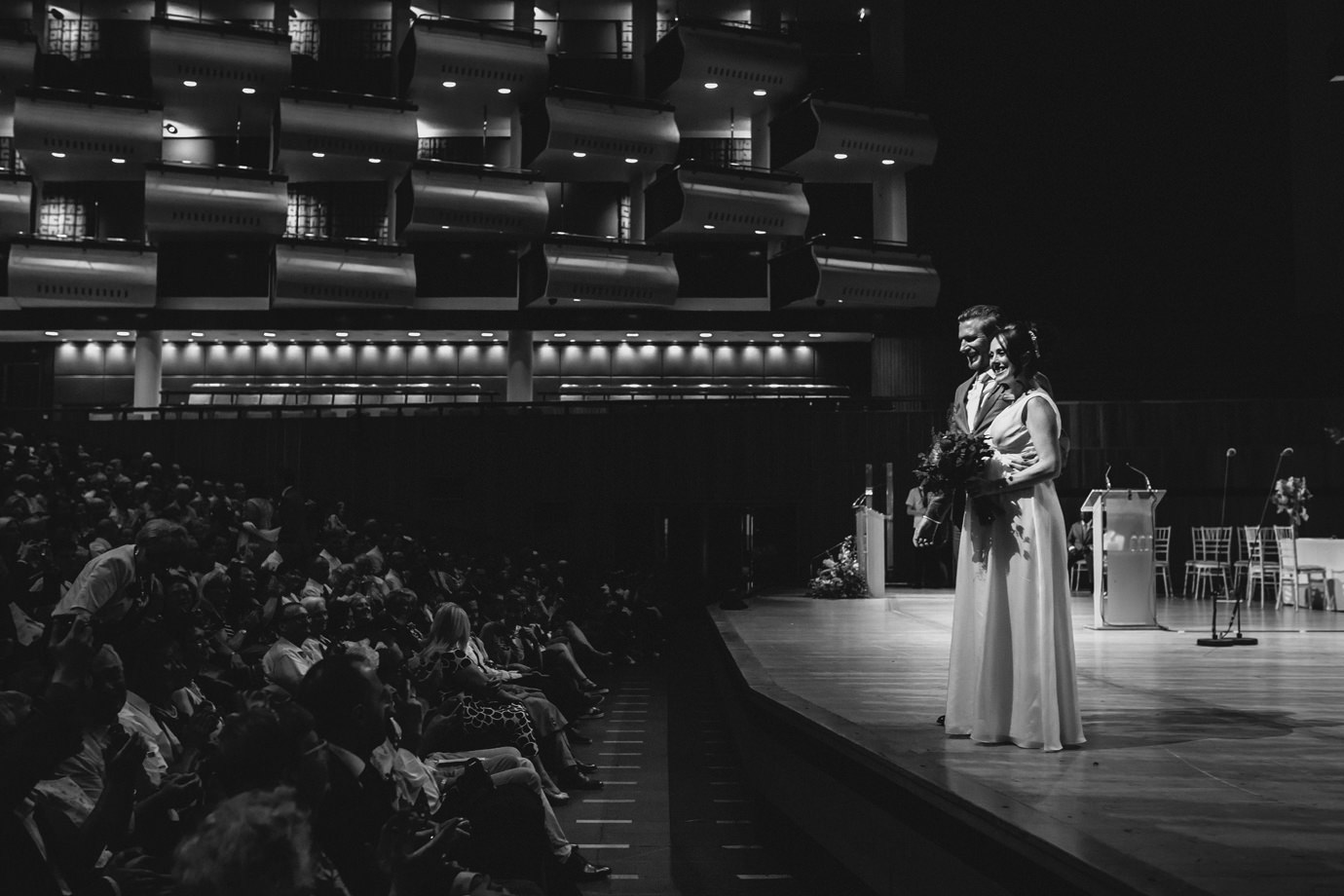 Newlywed couple, Royal Festival Hall, documentary wedding photography