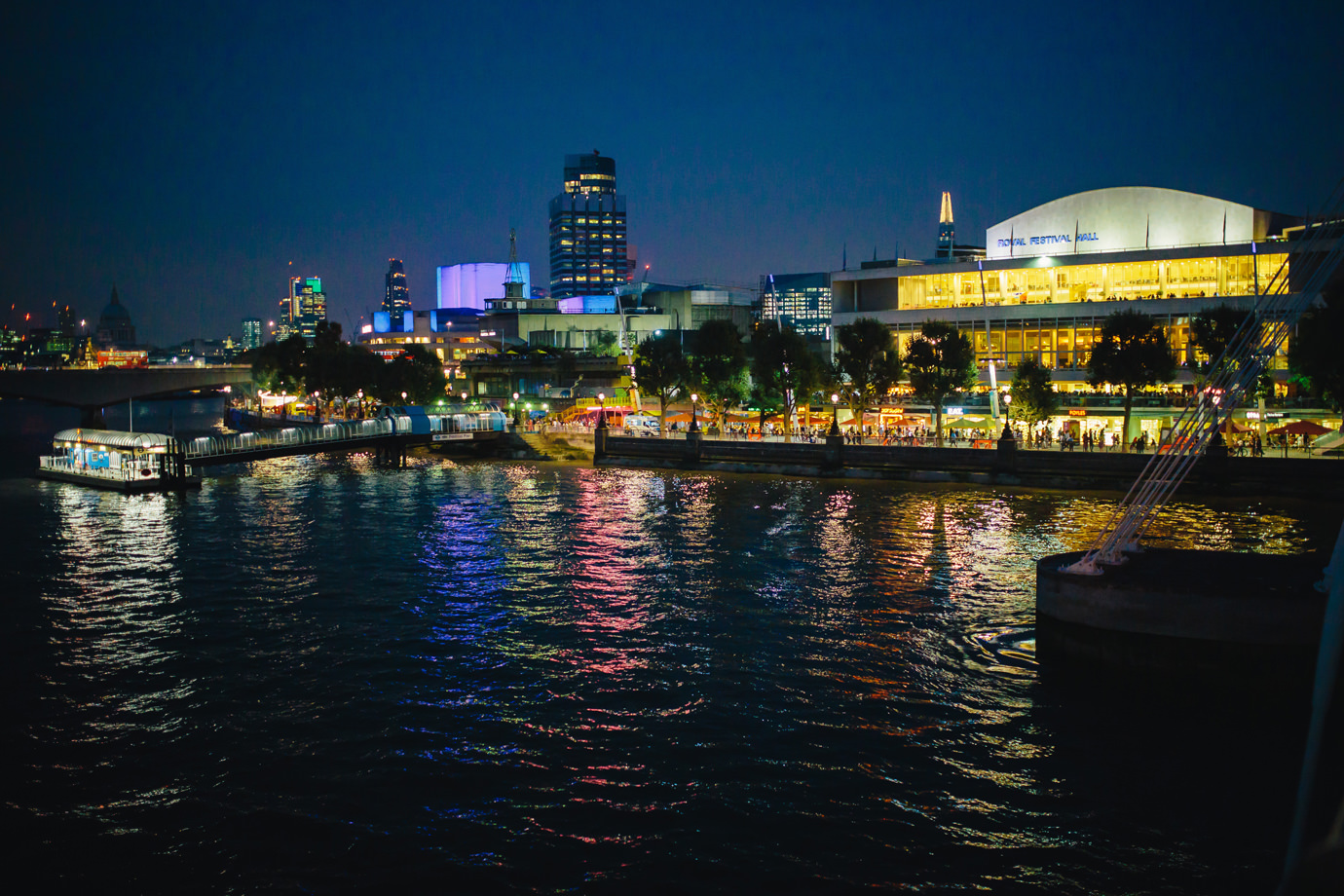Royal Festival Hall, Southbank, at night. London wedding photography