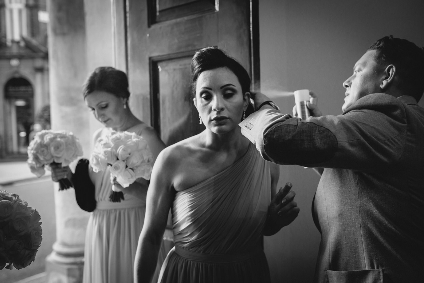 Hair fix - the last of the spray - london wedding photography