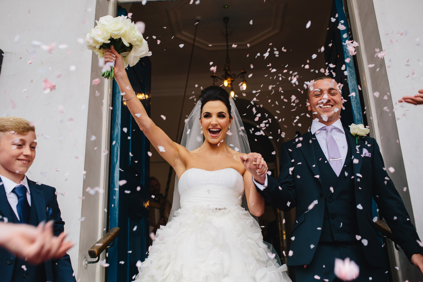 Just married, the confetti shot, Grosvenor Chapel, Mayfair