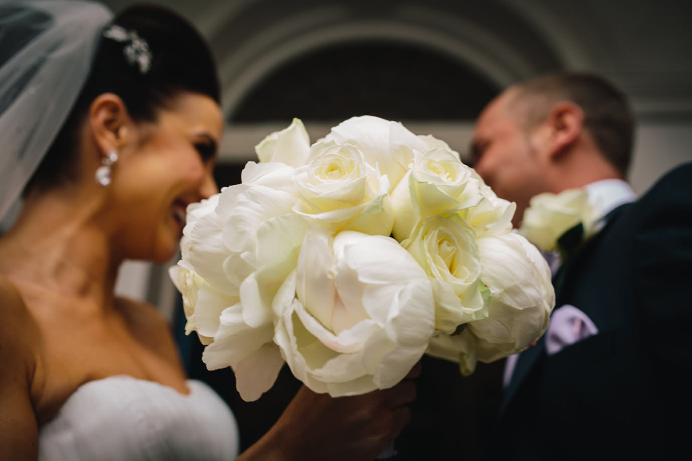 The bouquet, just married, London documentary wedding photography