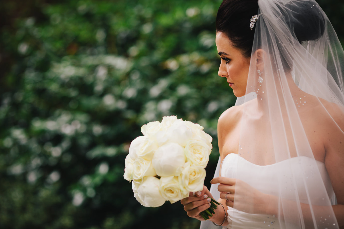 Bride with bouquet. London wedding photography