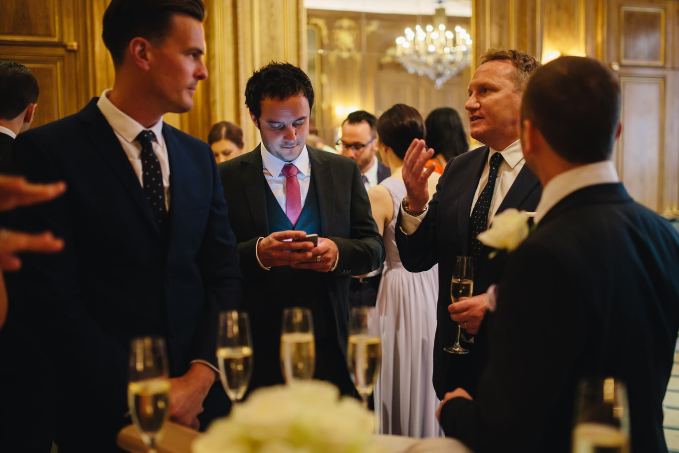 Phone check, guests at Claridges