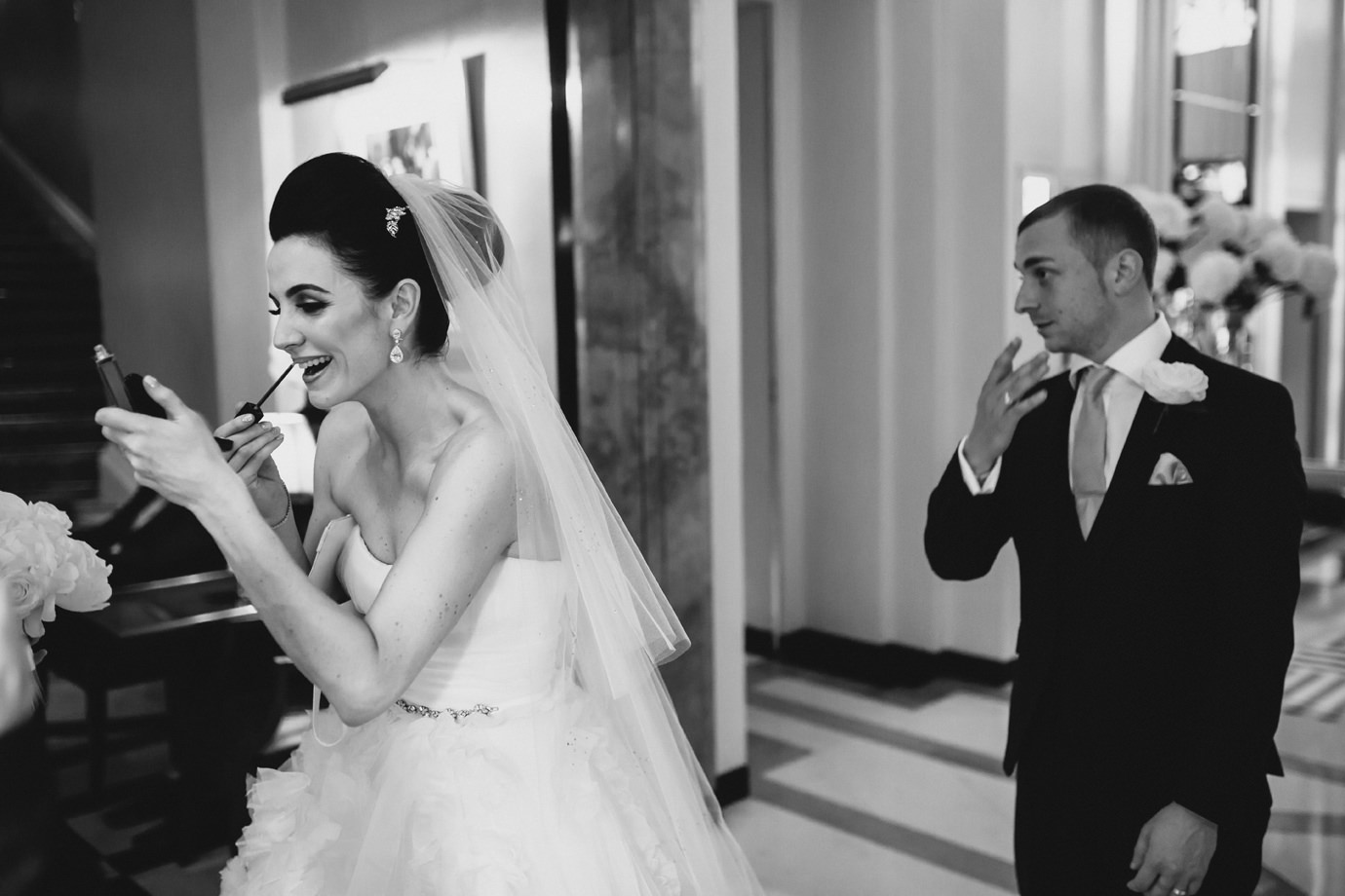 Bride and groom, documentary wedding photography, Claridges, Mayfair