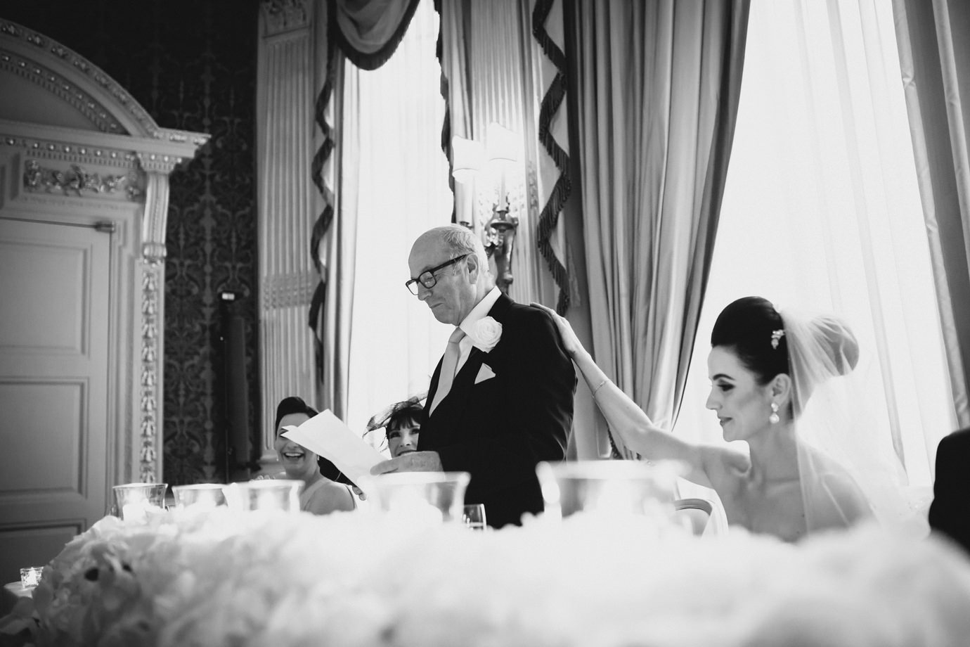 Bride and father, speeches in the Drawing Room, Claridges