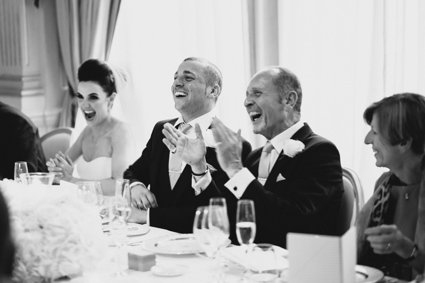 Groom and father, during the speeches, wedding photography Mayfair