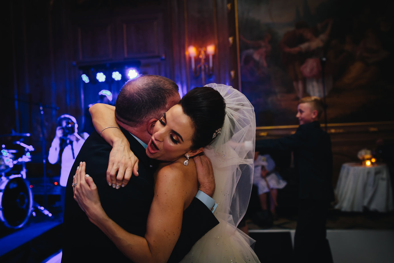 Bride, with guest, dancing. London wedding photography